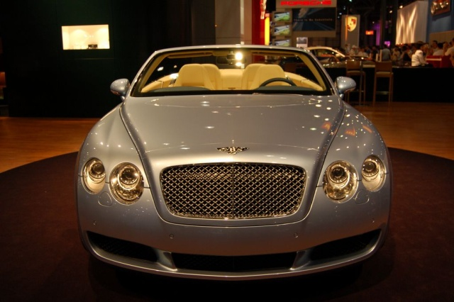 silver bentley convertible front view