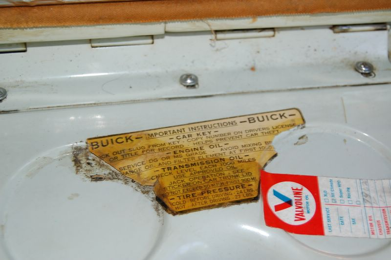 1957 buick special glovebox decal