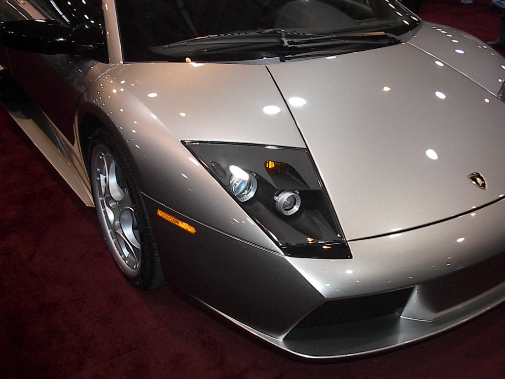 silver lamborghini headlight