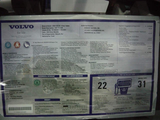 2004 volvo 4 door sedan -sticker