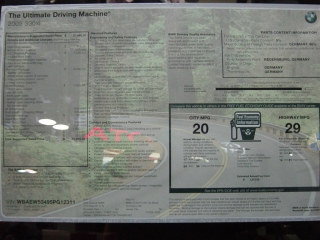 2005 bmw 330xi sticker