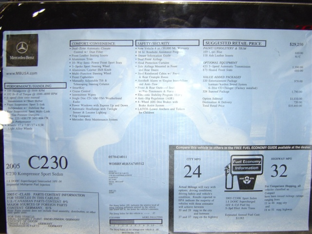 mercedes-c230-kompressor-sticker