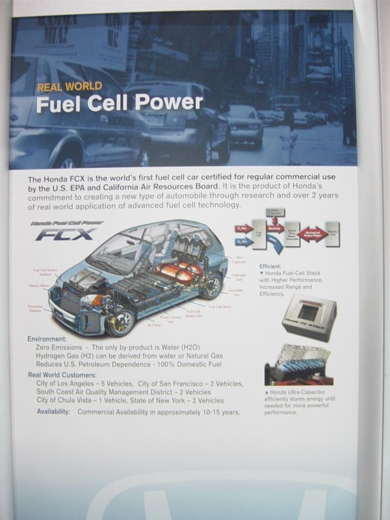 honda fcx fuel cell car information