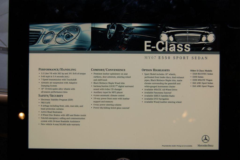 mercedes e550 sports sedan information