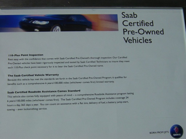 saab preowned certification