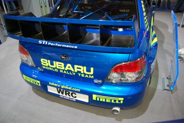 subaru world rally team car rear view